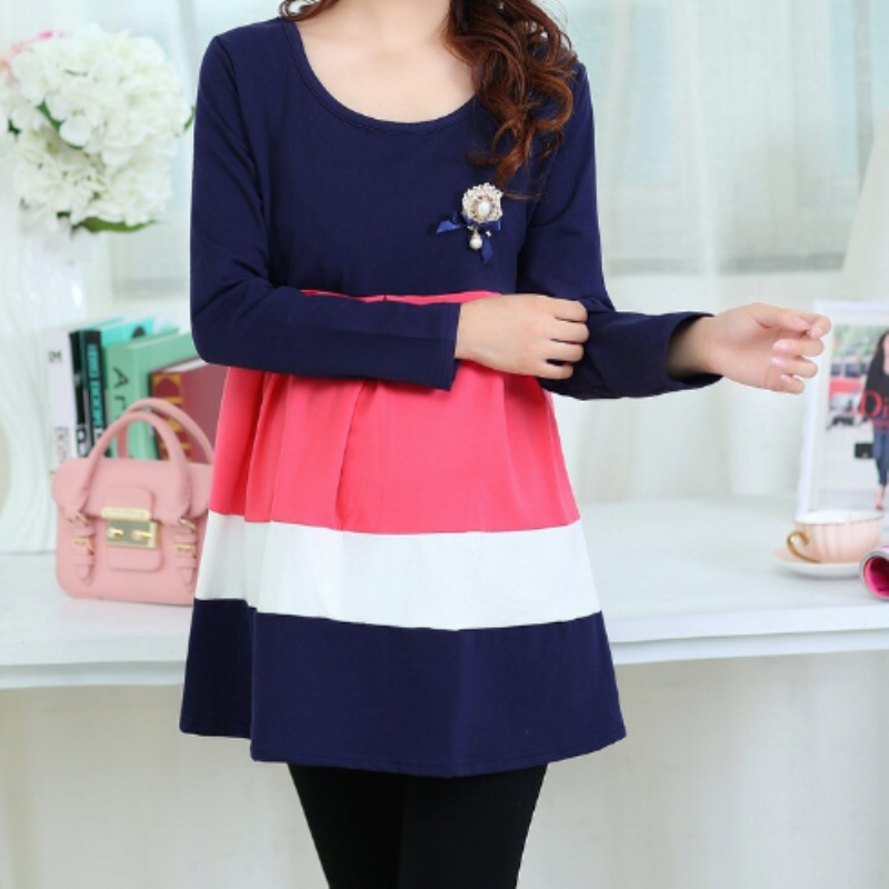 2015 new autumn fall maternity tops plus size t shirts pregnancy blouse clothes for pregnant women