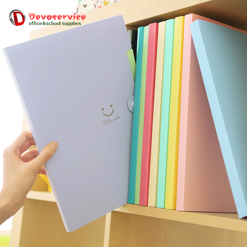 New 4 Color A4 Kawaii Carpetas Smile Waterproof Carpeta File Folder 5 Layers Archivadores Anillas Document Bag Office Stationery free shipping office stationery a4 folder powerful single double clip pp material no peculiar smell carpetas pasta escolar w001