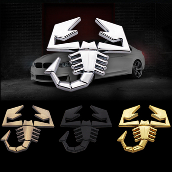 3D Metal Scorpion Badge Emblem Decal scorpion chrome Car sticker For Fiat Abarth Audi Renault Car Door Fender Trunk Rear Decor edge chrome abs car trunk rear number letters badge emblem decal sticker for ford edge
