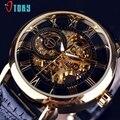 Excelente Qualidade de Gravura Oco Esqueleto Casual Designer Caso Engrenagem Moldura de Ouro Relógios Homens Marca De Luxo Relógios Automáticos