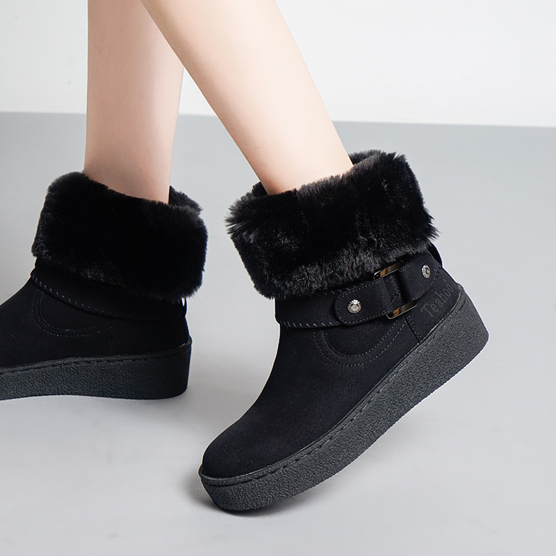 Botas Nieve Zapatos Con Apricot Piel Mujer Calzado De negro Moda Ternero Marca Marrón Casuales Mediados Zapatilla Invierno marrón 7rwYr4qE