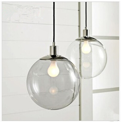 modern crystal glass ball pendant light restaurant bar single glass pendant light clear glass ball dia - Clear Glass Pendant Light