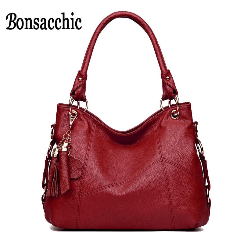 Bonsacchic Red Women Leather Handbags Female Hobos Bags Designer Handbags High Quality Black Hand Bag for Women bolsa feminina