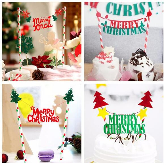 Christmas Cake Toppers.Us 1 58 Christmas Cupcake Cake Toppers Cake Insert Flags For Party Baking Photograph New Merry Christmas Decoration Ornaments Christmas In Cake