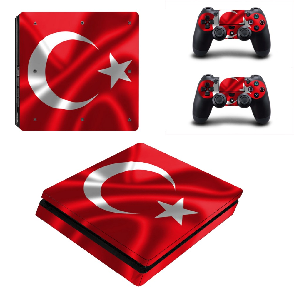 Turkey Flag For Playstation 4 PS4 Slim Console Game Decal Skin Stickers + 2 Pcs Stickers For PS4 Slim Controller