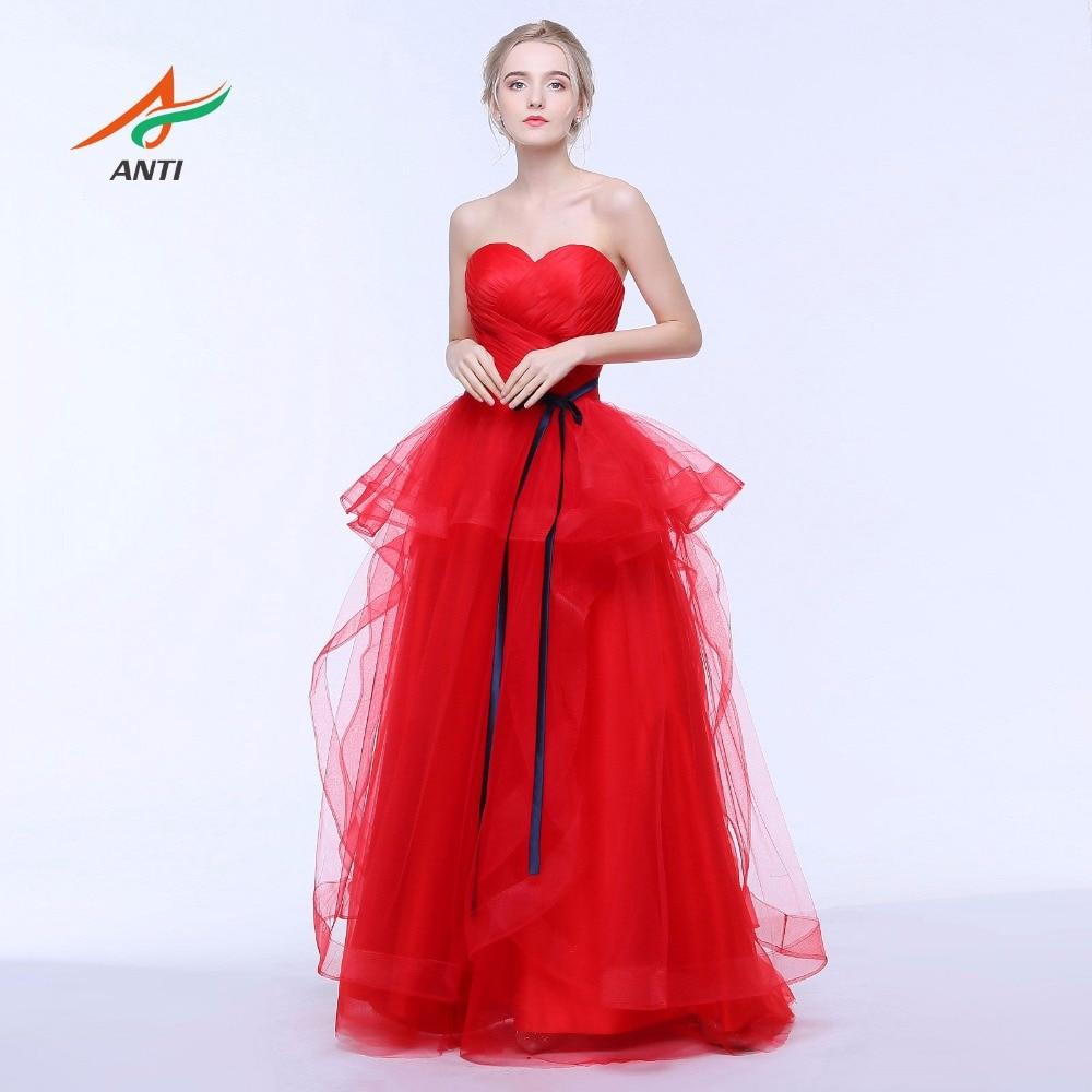 ANTI Elegance Red Evening Dress Sweetheart Ärmlös A-Line Formell - Särskilda tillfällen klänningar
