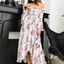 BeAvant 2018 Off shoulder summer dress women Floral print high waist irregular long dress Elegant boho maxi dress vestido female