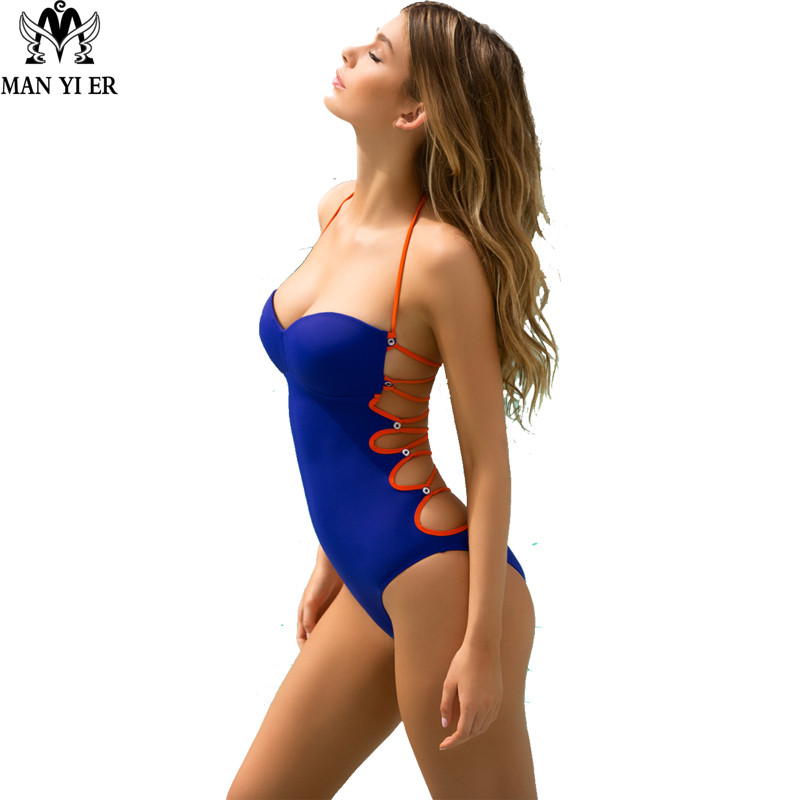 MANYIER One Piece Swimsuit 2017 Sexy Swimwear Women Bathing Suit Swim Vintage Summer Beach Wear Print Bandage Monokini Swimsuit bandage vintage beach wear one piece swimsuit women backless trikini deep v neck monokini triquini sexy bathing suit