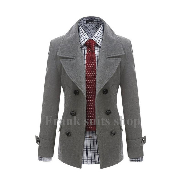 Custom made 2017 New design woolen Trench coat men fashion Slim Fit Outerwear Mens Coat Warm Winter Overcoat