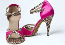 New Free Shipping  Pink Leopard Print Satin Open Toe Dance Shoe Ballroom Salsa Latin Tango Bachata Dancing Dance Shoes ALL Size