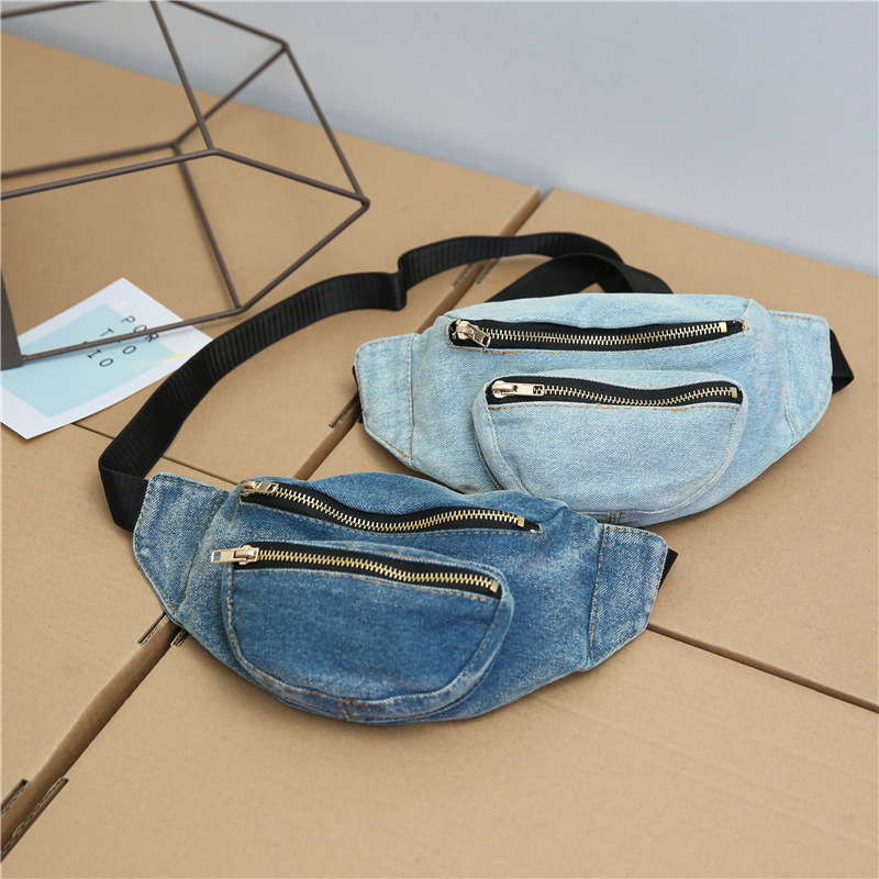 BANGE Men Women Denim Zipper Waist Bag Casual Fanny Pack Chest Packs For Women Men Money Belt buik tasje Belly Bags Purse Chic summer color block fake pocket shirt collar short sleeves button down shirt for men
