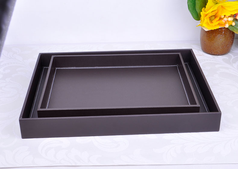 Rectangle woode PU leather storage tray black color home decoration tray kitchen tray for food dessert