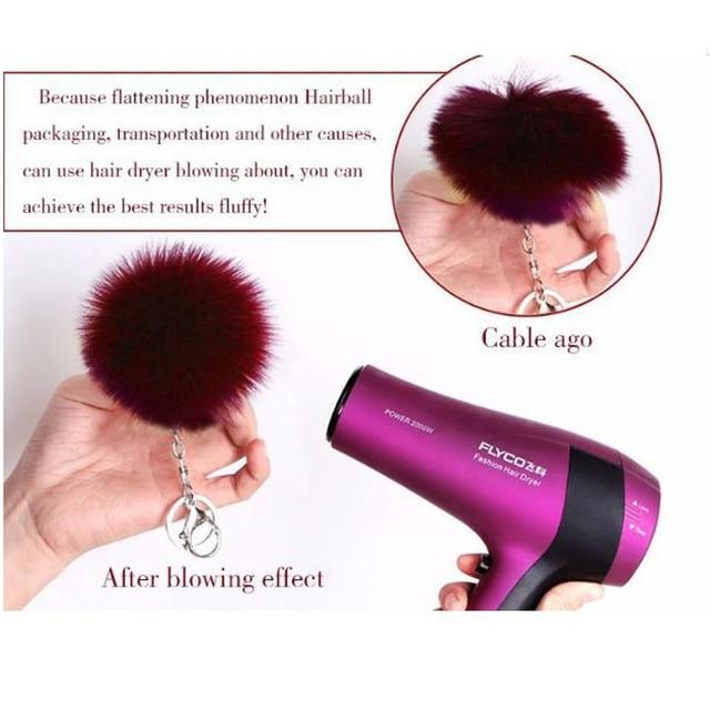 simple key chain Fur ball Pompon Keychain Pompom Artificial Rabbit Fur Animal Keychains For Woman Car Bag KeyRing 14 colors 5