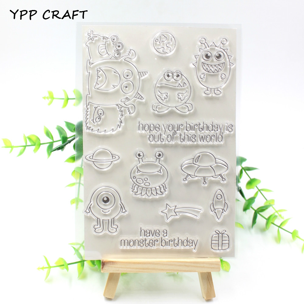 YPP CRAFT Birthday Monsters Transparent Clear Silicone Stamp/Seal for DIY scrapbooking/photo album Decorative clear stamp about lovely baby design transparent clear silicone stamp seal for diy scrapbooking photo album clear stamp paper craft cl 052