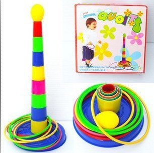 candice guo! very amusedly quoits parent-child sports game colorful layer up throwing ring plastic toy 1pc