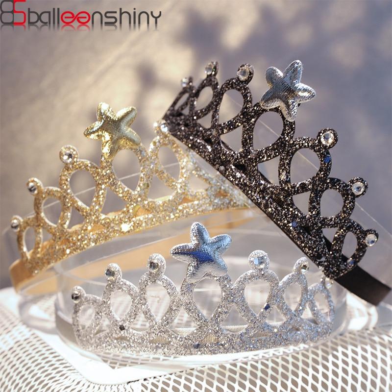 BalleenShiny Shiny Newborn Baby Crown Heabband Princessse Star Elastic Head Band Infant Birthday Headwear Accessories