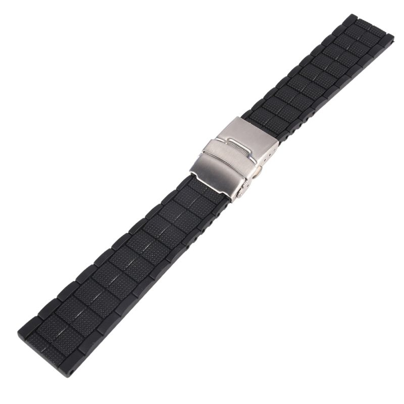 20mm 22mm Black Silicone Rubber Waterproof Men Women Watch Strap Band Deployment Buckle Watch Band 20mm watch band strap watchbands for men s women sport diving silicone rubber black blue silver buckle relojes hombre