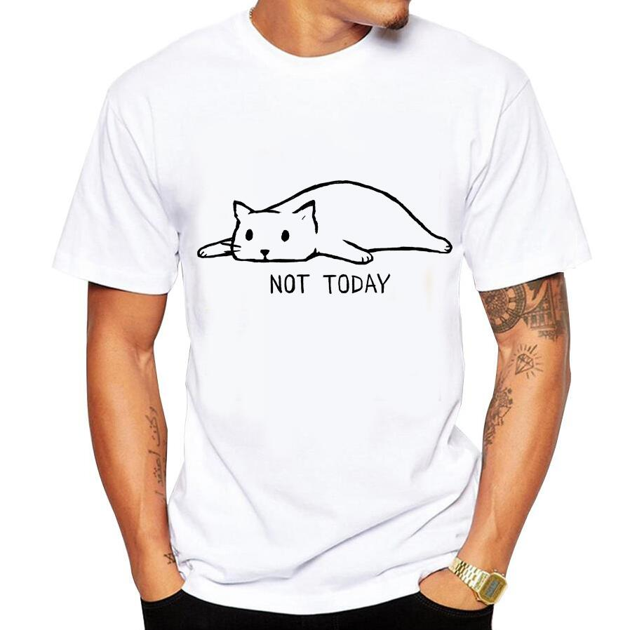 2018 Fashion not today Men's T-Shirt Short Sleeve Round Neck Tops Hipster funny Lazy cat Printed T Shirts no glue print