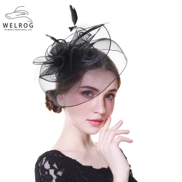 cc20579349f WELROG Fascinators for Women Black Wedding Kentucky Derby Church Hats  Autumn Ladies Linen Veil Hat Large Brim Chapeu Fedoras