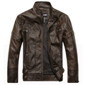 Motorcycle leather jackets men jaqueta de couro masculina Bomber leather jacket Inverno Couro mens Stand Collar Outwear Coat