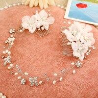 The Pearl Hair Comb Headdress Hairbands Vintage Pearl Hair Accessories White Silver Flower Haircombs Women Hairpins