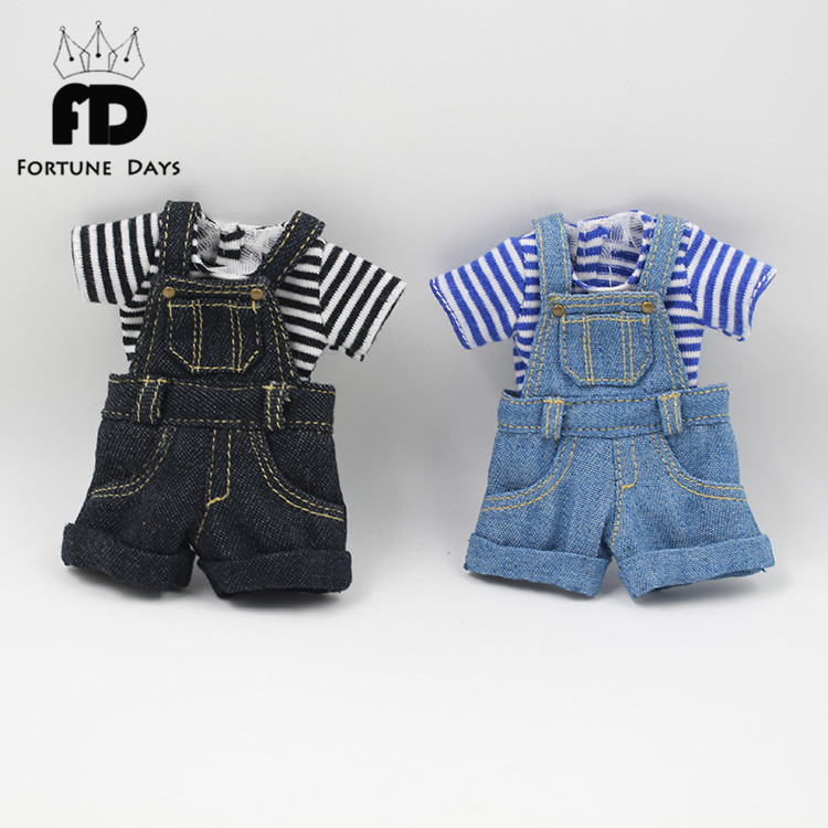 Free shipping Blyth Doll Strap jumpsuit shorts black and blue цена