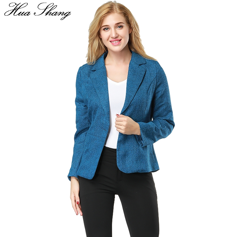 Hua Shang Autumn Single Button Women Blazers And Jackets Slim Lady Work Office Jackets Female Plus Size Casual Outerwear Coat