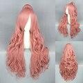 Alta qualidade 70 cm VOCALOID - Megurine Luka rosa Anime Cosplay peruca com um rabo de cavalo longo encaracolado cabelo sintético frete grátis