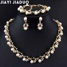 jiayijiaduo Classic Imitation Pearl necklace Gold-color jewelry set for women Clear Crystal Elegant Party Gift Fashion Costume(China)