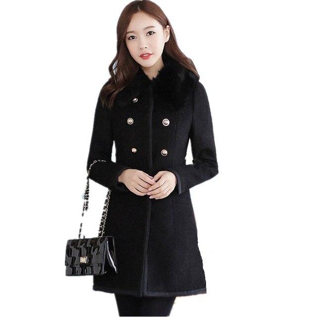 Autumn Winter Woolen Trench Lady Wool Blend Warm Long Jacket Outerwear Fur  Collar Cashmere Coats Women e214880cc