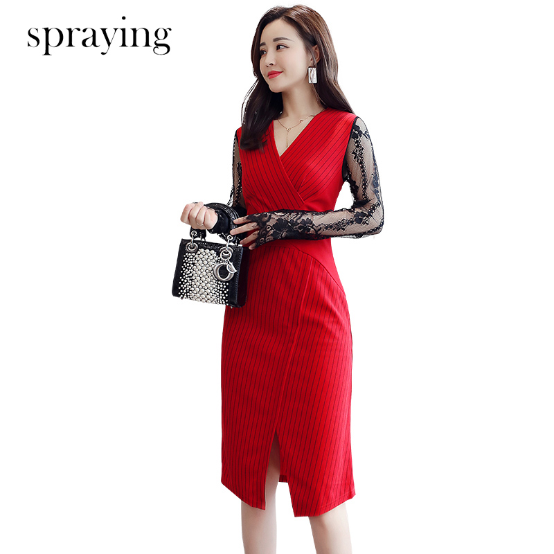 2019 summer New slim Lace sleeve striped dress Ladies temperament dress korean spring dress top quality