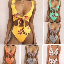 2018 Sexy Hot Selling Women's Double -sided Printed High Waist Split High Quality Bikini Free Shipping 2018A18