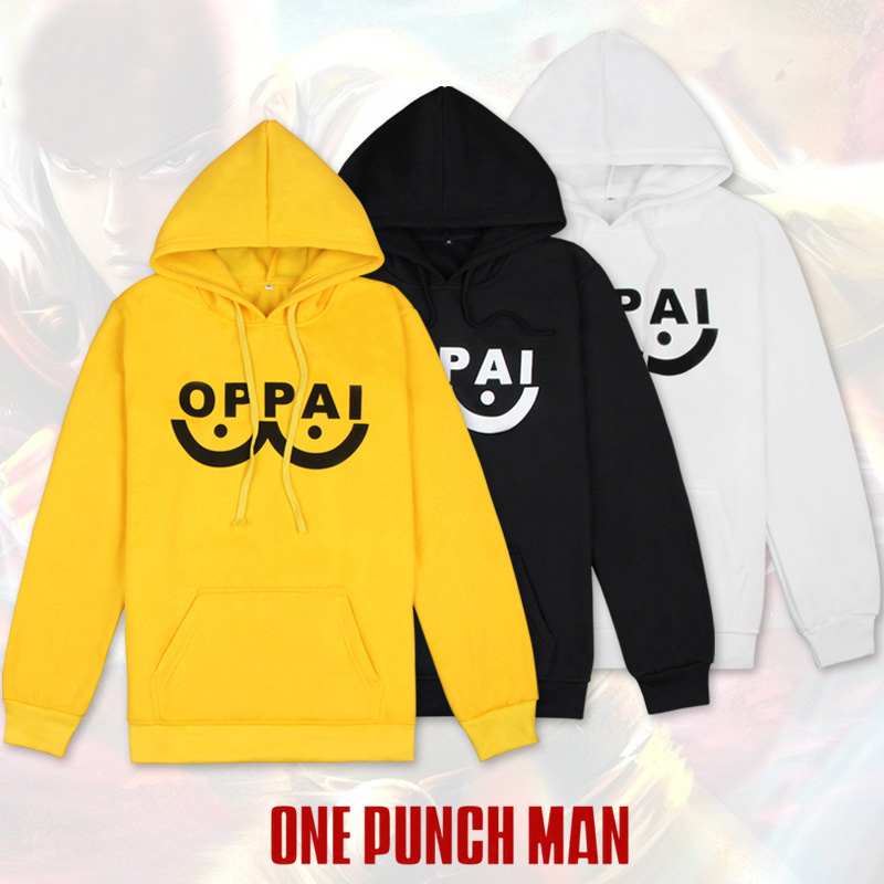 Anime ONE PUNCH MAN Saitama Oppai Hooded Hoodie Cosplay Costume Daily Casual Thicken Pullover Jacket Fleece Sweatshirt