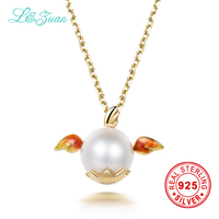 L Zuan 18K Yellow Gold Pendant Real Enamel Cultured Freshwater Pearl Pursue Dream Angel Pendant Necklace