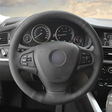 High quality Black Artificial Leather anti-slip customized car steering wheel cover For BMW F25 X3 2011-2017 F15 X5 2014 цена и фото