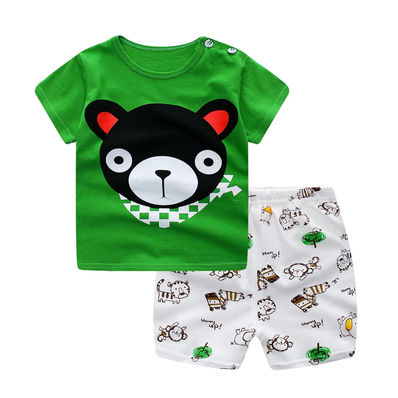 2017 Baru Musim Panas Bayi Laki laki Pakaian Kartun Beruang Anak Anak Perempuan Balita Pakaian Set Lengan Pendek T Shirt Striped celana di Set pakaian