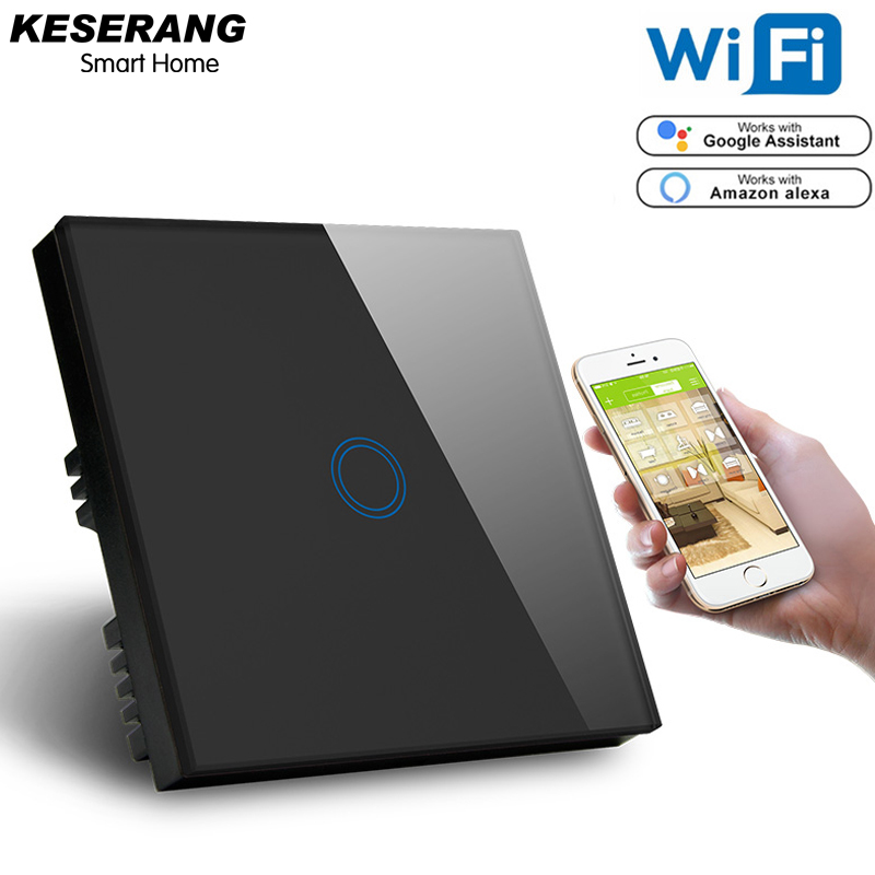 Image 3 - KESERANG,UK Standard 1gang Smart Wifi Switch 220V,Crystal Glass Panel Wifi Light Switch Smart Home Controller Works Google,Alexa-in Smart Remote Control from Consumer Electronics