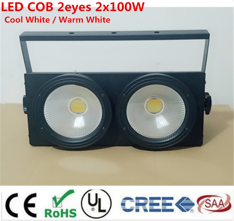2eyes 2x100w LED COB Light DMX Stage Lighting Effect Led Blinder Light ,Cool White / Warm White Dmx controll blinder led cob 4x100w led blinder light 400w dmx512 2 channels cold warm white blinder stage effect lighting dj party led lamp