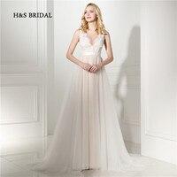 H & S Bridal Światła Kolor Biały Okrągły Dekolt Tulle Sexy Sheer Prom Dresses Eleganckie Dziewczyny Party Suknie Wieczorowe
