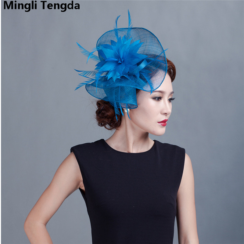 Yarn Bride Hair Wedding Accessories Manufacturers Export Party Yarn Pink Corsage Photo Feather Cap Chapeau Mariage Mingli Tengda