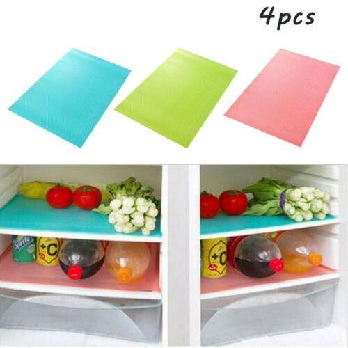 Refrigerator Pad Antibacterial Mats Shelf Liners Antifouling Mildew//Moisture Absorption Pad Multifunctional Vegetable Fruits Fresh Pads Fridge Drawer Table Placemats 4pc//Set Blue