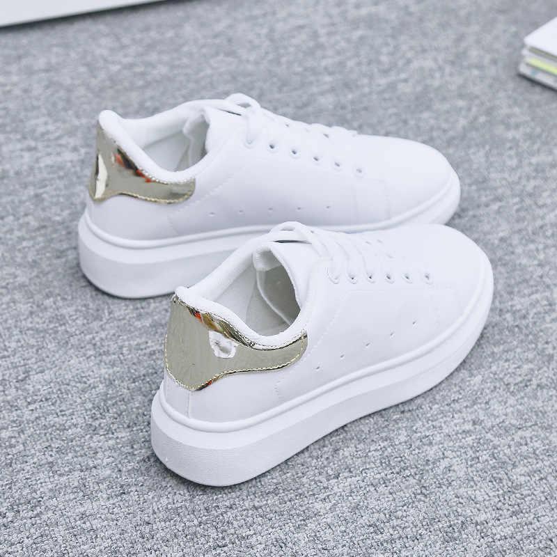 נעלי אישה 2019 אביב נשים נעלי ספורט אופנה לנשימה עור מפוצל פלטפורמת לבן נשים נעליים יומיומיות רך Footwears