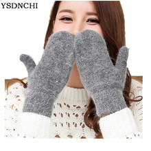 YSDNCHI Hot Sale Fashion Women Girl Winter Gloves Pure Color Rabbit Fur Mittens Soft Warm Candy Color Double Layer Female Gloves cheap Gloves Mittens Wool Polyester Fur G140 Wrist Solid Adult red khaki black white dark grey Pink light grey camel