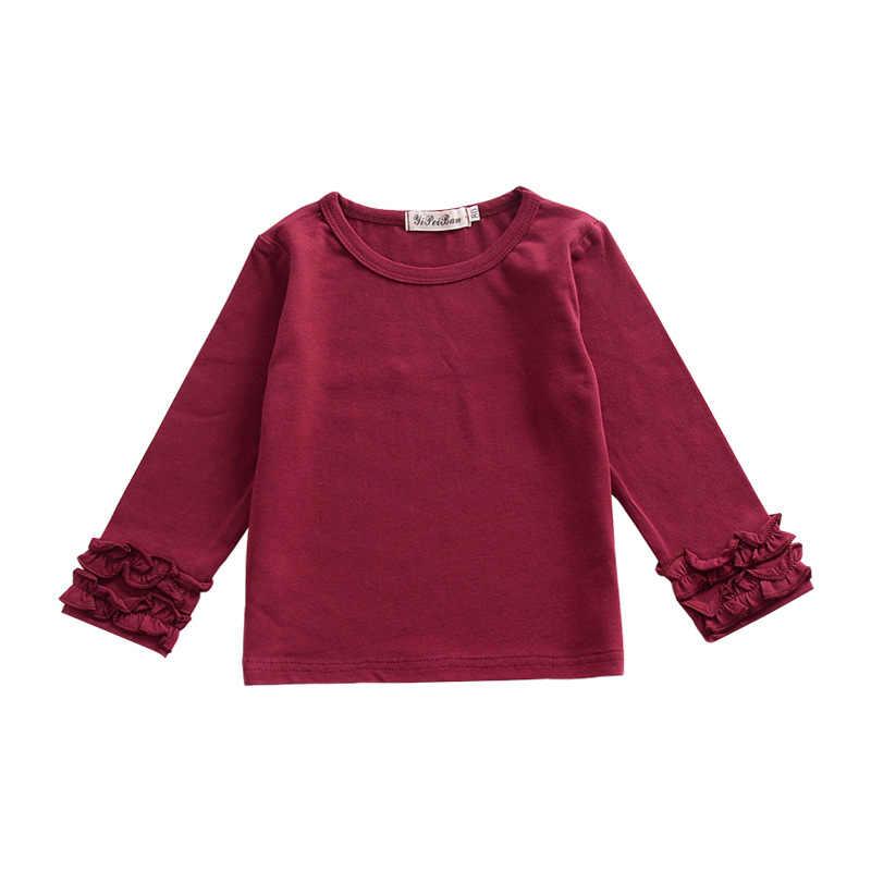 高品質新ガールズ Tシャツ 2018 秋 Childen 綿フリル Tシャツトップス O ネックの子供服 1- 6 年