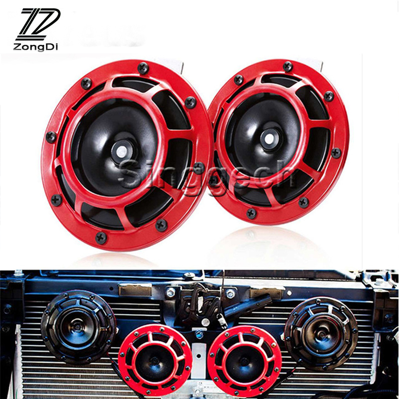 ZD 2X Car styling For Kia Rio 3 Ceed Toyota Corolla 2008 Avensis C-HR RAV4 Mazda 3 6 Air Red Horn alarm loudspeaker Blast Tone zd 2x car styling for kia rio 3 ceed toyota corolla 2008 avensis c hr rav4 mazda 3 6 air red horn alarm loudspeaker blast tone