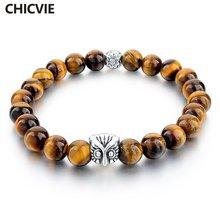 Chicvie тигровый глаз бусины натуральный камень Шарм Браслеты