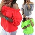 2017 Мода Женщин Сексуальное С Плеча Верхняя Свободная Плюс Размер Blusas Feminina Девушку Топы Рябить Гофрированной Отделкой Дамы Рубашки Femme W2