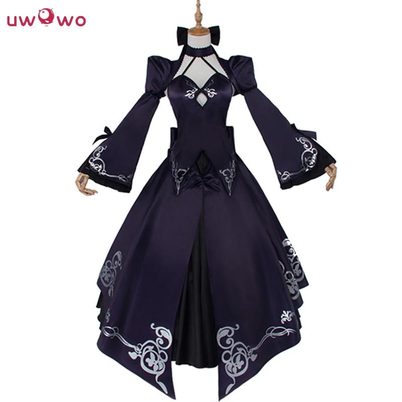 Saber Uwowo Costume Artoria Pendragon Anime Fate Stay Night UBW Fate Zero Sword Cosplay Black Dress