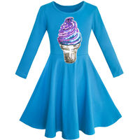 Sunny Fashion Girls Dress Owl Ice Cream Butterfly Sequin Everyday Dress Cotton 2017 Summer Princess Wedding
