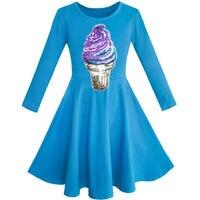 Sunny Fashion Girls Dress Owl Ice Cream Butterfly Sequin Everyday Dress Cotton 2017 Summer Princess Wedding